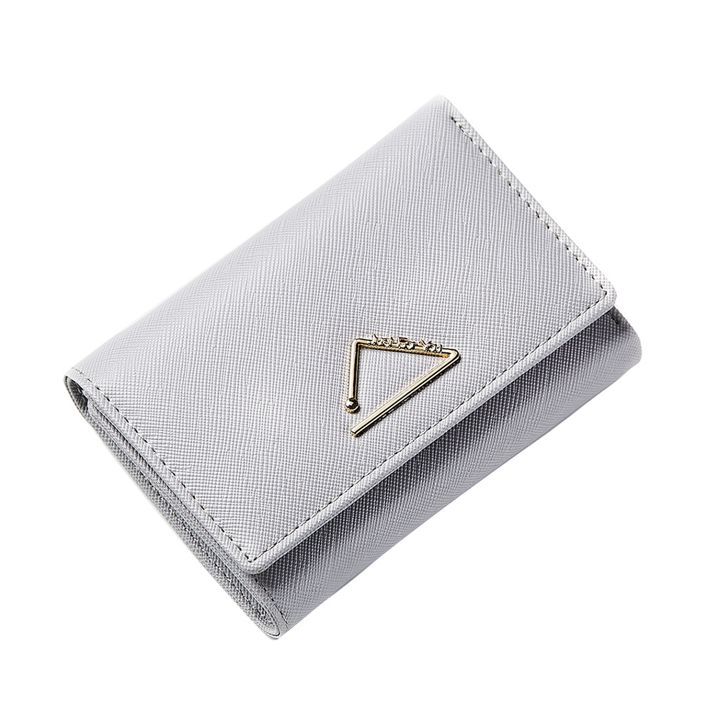 Ladies Hand Small Card Package Cross Pattern Metal Hardware 3 Folder Multi Card Position Wallet Bag in Wallets from Luggage Bags