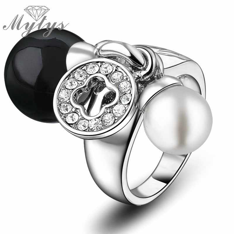 Mytys белый и черный двойной жемчуг кольцо 2018 модный подарок женские ювелирные изделия жемчуг кольца для женщин R1219