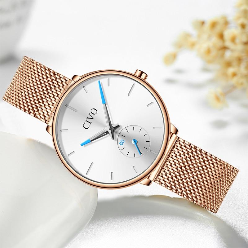 CIVO étanche en acier blanc maille bracelet femmes montres de luxe Quartz dames montres décontracté femmes horloge Montre Femme - 5