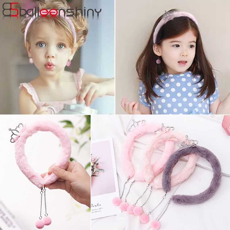 BalleenShiny Crown Plush Hair Band Baby Girls Fashion Princess Soft Headband Beauty Furry Fur Headdress Child Kids   Headwear   Gift