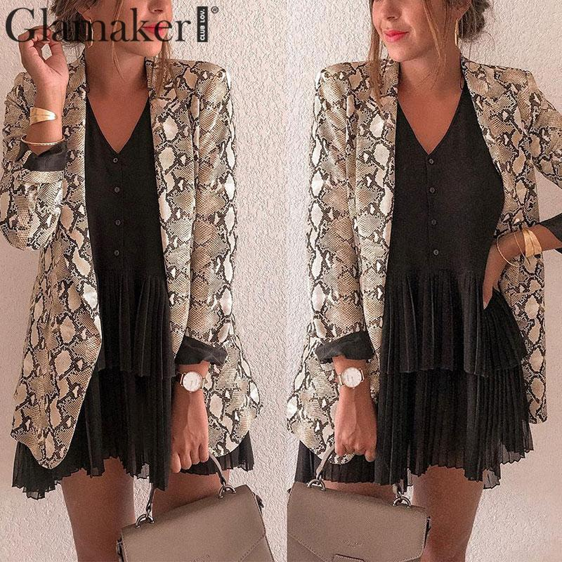 Glamaker Sexy Jacket Snake Print Ladies Blazer Long Outwear Women Blazers And Jackets Casual Sexy Blazer Feminino Streetwear