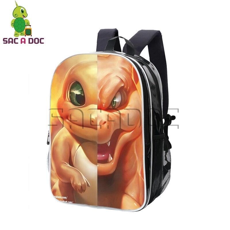 Pokemon Charmander Charizard Split sac à dos Pu cuir sacs à dos garçons filles sacs d'école livre sac femmes hommes étanche sac de voyage