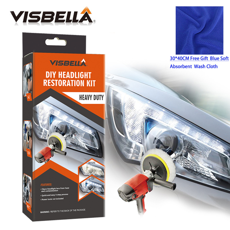 VISBELLA Headlamp Polishing Paste Kit DIY Headlight Restoration For Car Auto Care Repair Hand Tool Sets  By Machine With Cloth