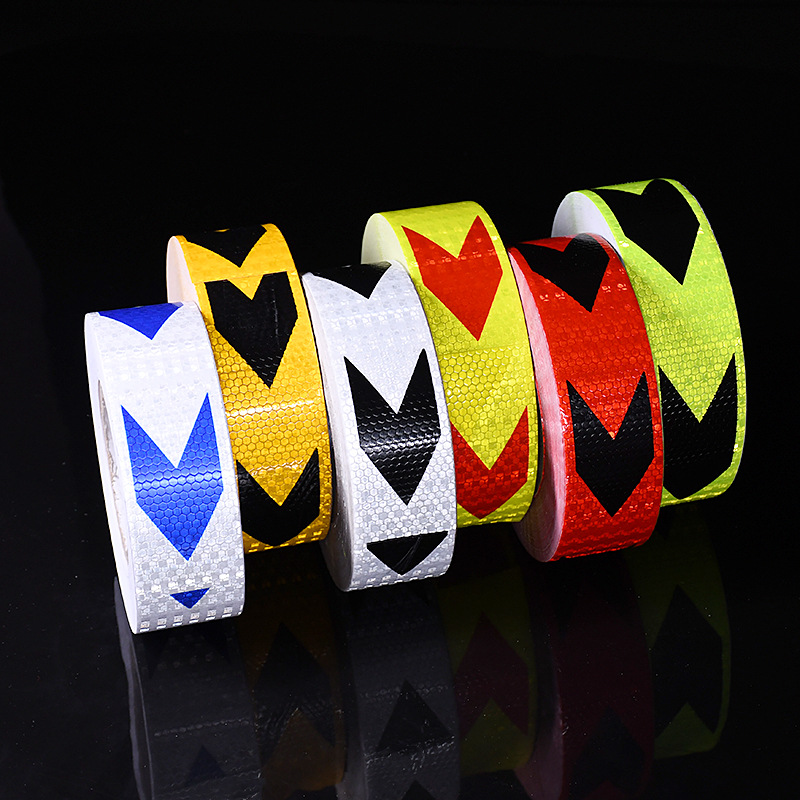 5cm 45m roll Arrow Reflective Stickers Adhesive Tape Car Truck Bike Safety Warning Reflective Strip Traffic Safety Strip in Car Stickers from Automobiles Motorcycles