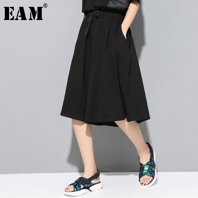 [EAM] 2019 New Spring Summer High Elastic Waist Pocket Split Joint Loose Black   Wide     Leg     Pants   Women Trousers Fashion Tide JT150