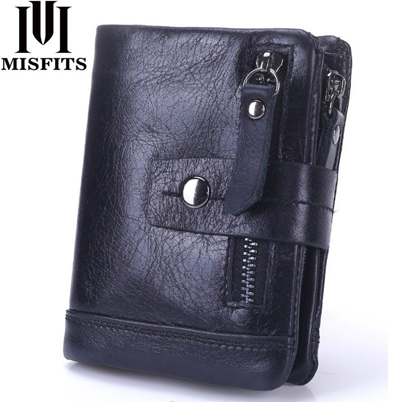 MISFITS 2018 NEW Genuine Leather Men Wallets Casual Zipper Coin Purse With Card Holder Brand Cowhide Long Wallet Clutch For Male luxury brand genuine vegetable tanned leather cowhide men men s long wallet wallets purse card holder coin pocket zipper for man