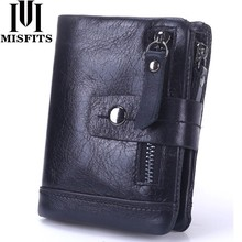 MISFITS 2019 NEW Genuine Leather Men Wallets Casual Zipper Coin Purse With Card Holder Brand Cowhide