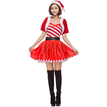 Christmas Costume Women  Adult Sweet Candy Santa Miss Cosplay Clothing