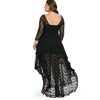 CosMera High Low Lace Dress With Cami Women Clothing 2018 Fall Fashion See Thru O Neck Midi Dresses Ladies Vestidos Plus Size 1
