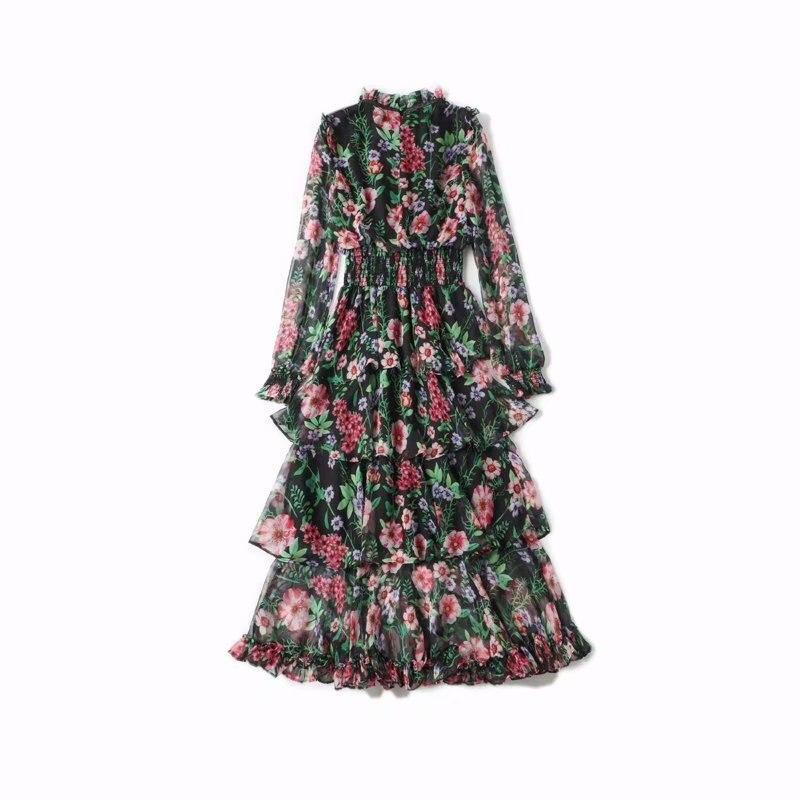 Robes Manches Piste Femmes Décontractées Supérieure Np0250n À Ruches 2019 Qualité Longues Volants Robe Cou Imprimées TBTw8