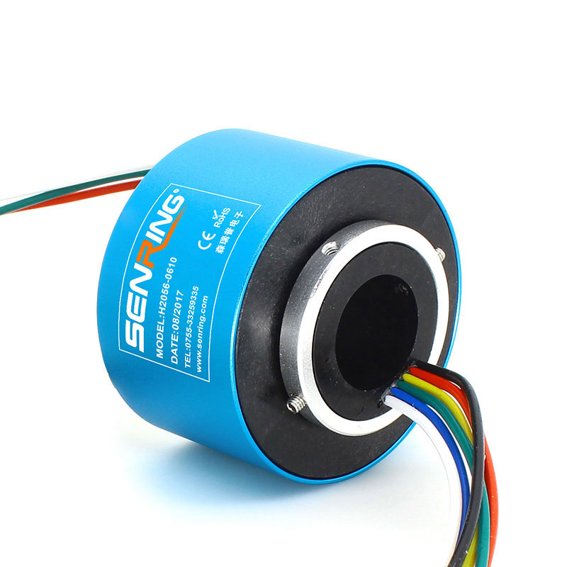 Slip Ring Rotary Coupling of 6wires through bore Slip Ring With Compact OD 56mm Precious Metal Contacts Hole size 20mm