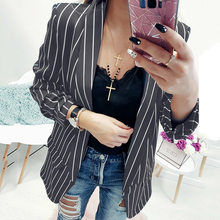 5d4d8ae2172 Women Black And White Striped Blazer Jacket Autumn Fashion Ladies Slim Fit  Small Suits Casual Long