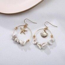 все цены на Sale Vintage Circle Sea Shell Earrings For women Alloy Round Beads Starfish Dangle Errings Women Circle Summer Beach Jewelry онлайн