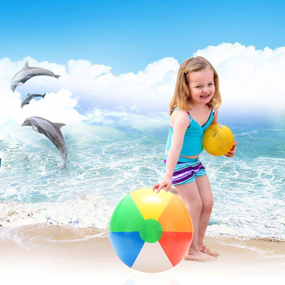 RCtown 1PCS 20CM Rainbow-Color Inflatable Beach Ball Kid's Water Polo Birthday New Year Christmas Halloween Gift Toy