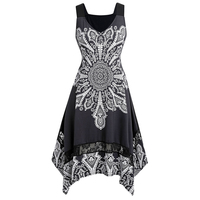 Rosegal Plus Size Asymmetrical Printed Dress Knee Length V Neck Sleeveless Women Summer Dress 2019 Vintage Vestidos Big Size 5XL