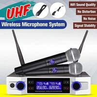 Профессиональный UHF беспроводной микрофон 2 канала 2 беспроводной ручной микрофон Kraoke вечерние принадлежности кардиоидный микрофон