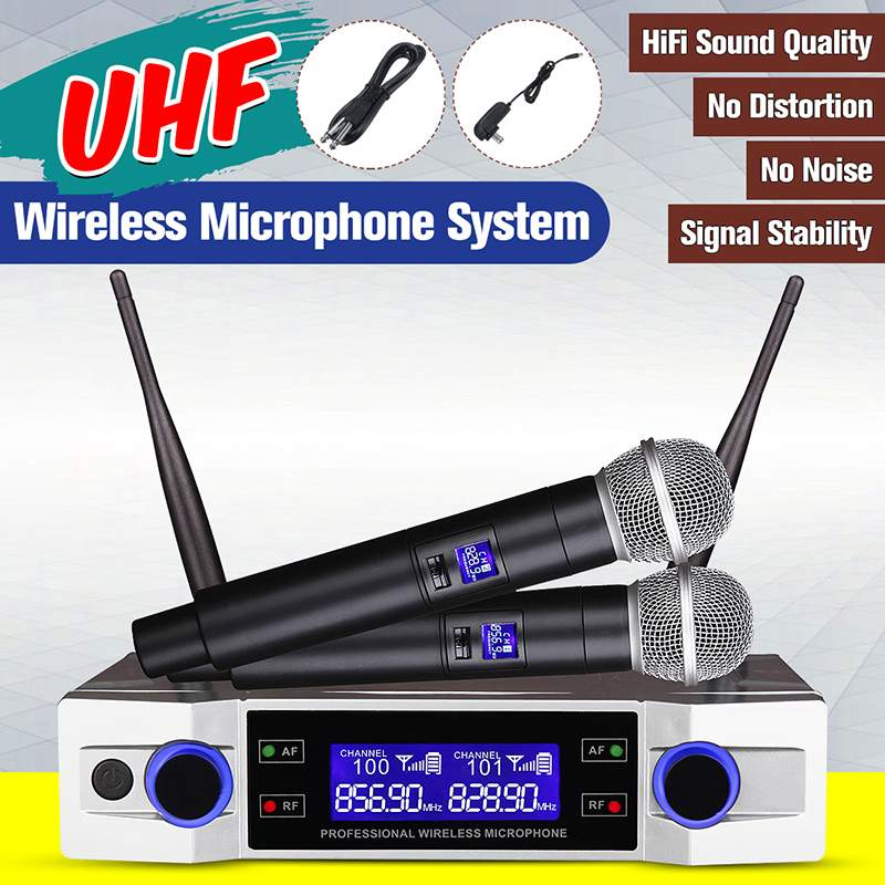 Système de Microphone sans fil professionnel UHF 2 canaux 2 micro portatif sans fil Kraoke fournitures de fête de la parole Microphone cardioïde