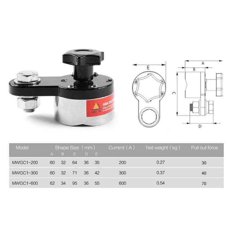MWGC1-200/300/600 Magnetische Schweißen Löten Erdung Klemme Eisen Schweißen Halter Maschine Neodym Magnet Magnetische Stecker