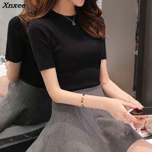 Female knit short sleeved shirt 2018 new spring thin sweater short sleeve sweater slim half sleeve head. Xnxee цены