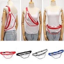 Simple Transparent Waist Bag Fashion PVC Fanny Pack Women Nylon Belts Travel Sport Casual Zipper