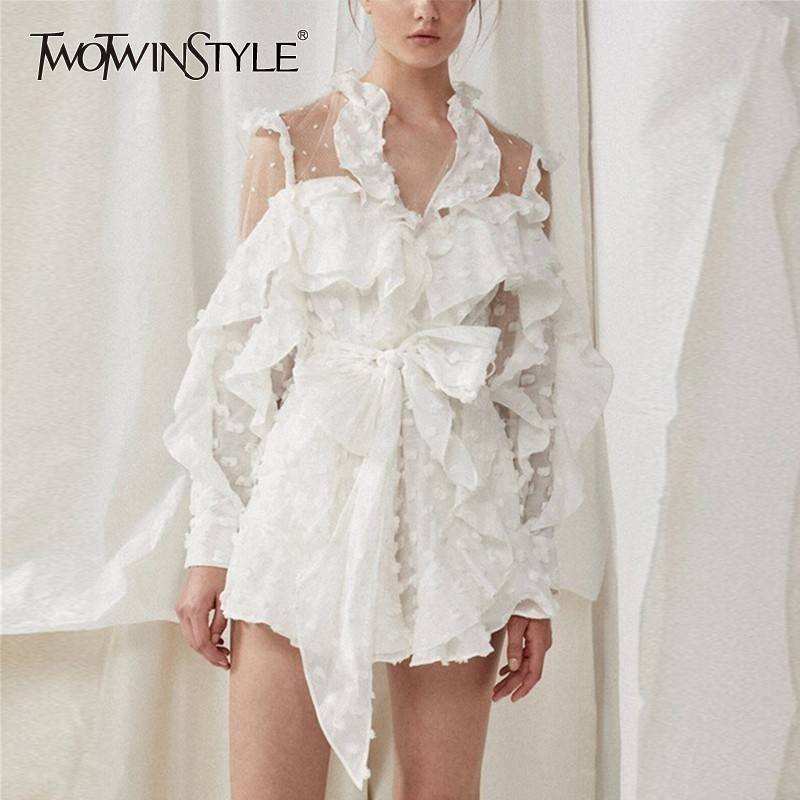 TWOTWINSTYLE Summer Lace Up Dot   Jumpsuit   Women Long Sleeve Bow Bandages Perspective Shorts Sexy Women Clothes 2019 Fashion New