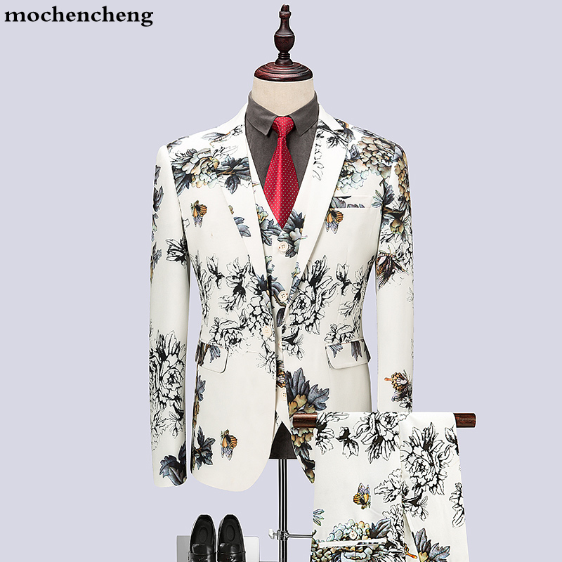 3pc Quality Men Suit Brand New Slim Fit One Button Stylish Mens Floral Suits Night Club Party Dress Tuxedo Groom Wedding Suits
