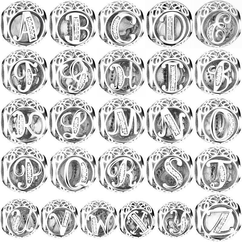 S925 серебро A to Z чистый CZ 26 букв Alphabe амулеты из Бисера Подходят из стерлингового серебра оригинальные амулеты Браслеты Рождественский подар...