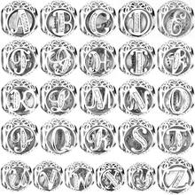 S925 Silver A to Z Clear CZ 26 Letter Alphabe Charms Bead Fit Sterling Silver Original Pandora Bracelets Bangles Christmas Gift(China)