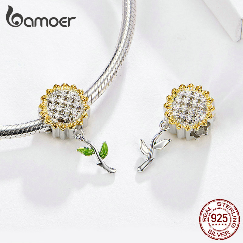 BAMOER Gold Color Sunflower Charm for Women Silver Bracelet 925 Sterling Silver Enamel Leaf Beads DIY BAMOER Gold Color Sunflower Charm for Women Silver Bracelet 925 Sterling Silver Enamel Leaf Beads DIY Jewelry Accessory SCC1211