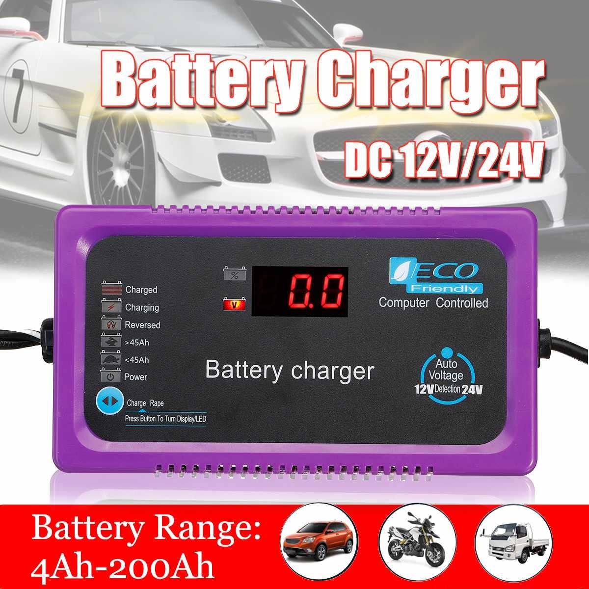 12 V/24 V 200AH chargeur de batterie de voiture entièrement automatique LCD micro-ordinateur réparation d'impulsions intelligentes pour voiture moto EU/UK/AU Plug