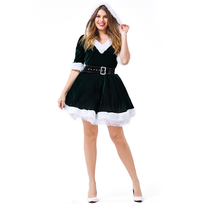 Christmas Costume Women Plus Size Santa Claus Helper Cosplay Adult
