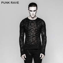 Punk Rave Mens Sweater Sexy Hollow-out Strappy Gothic Black Streetwear Hip Hop Rock Long Sleeve Top Shirt