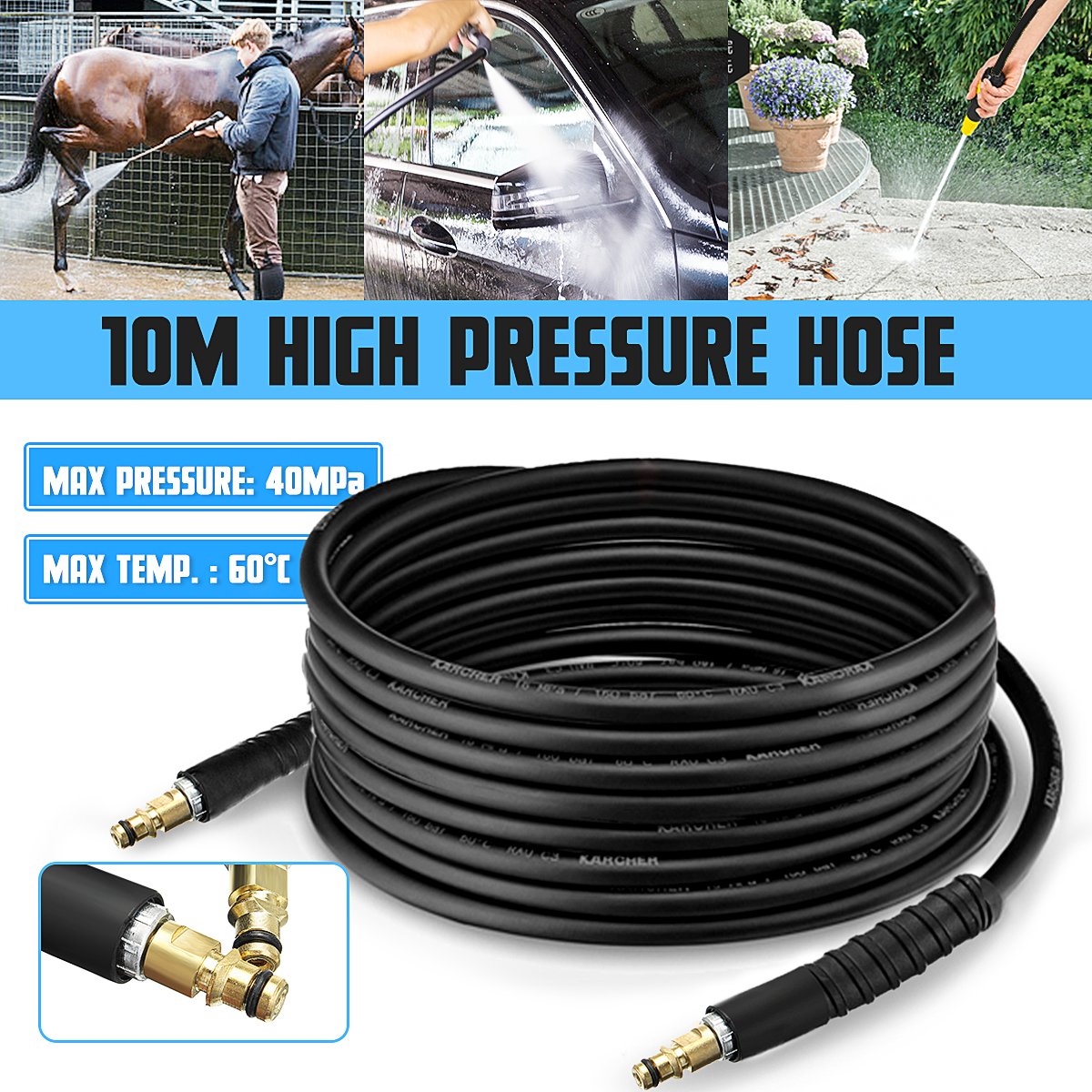 10m High Pressure Washer Water Cleaning Hose Pure Copper for K K2 K3 K4 K5 Car Wash