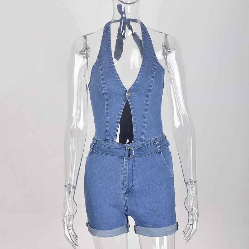 Для женщин Сексуальная Холтер Глубокий V средства ухода за кожей шеи комбинезон джинсы для джинсовый ремень короткий
