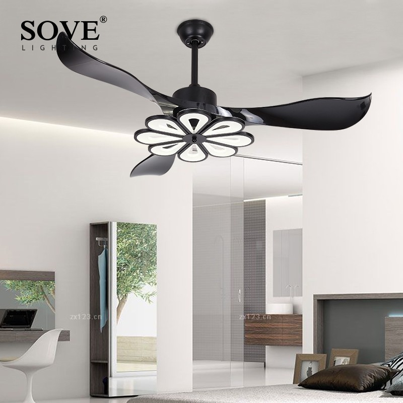 US $250.8 40% OFF|SOVE LED Modern Ceiling Light Fan Black Ceiling Fans With  Lights Home Decorative Room Fan Lamp Dc Ceiling Fan Remote Control-in ...