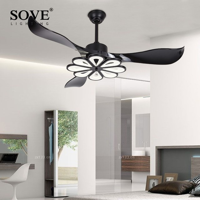 US $296.78 29% OFF|SOVE LED Modern Ceiling Light Fan Black Ceiling Fans  With Lights Home Decorative Room Fan Lamp Dc Ceiling Fan Remote Control-in  ...