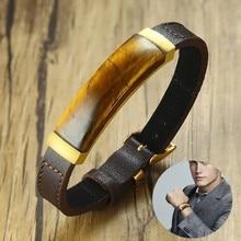 Bracelet de Station rectangulaire classique Gent en acier inoxydable et cuir véritable marron avec des bijoux pour hommes en œil de tigre