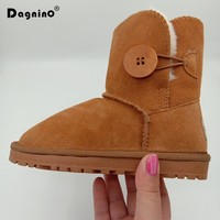 New Kids Winter Brand Genuine Leather Toddler Shoes Children's Boots Baby Boys Girls Australia Cowhide Warm Snow Boots With Fur