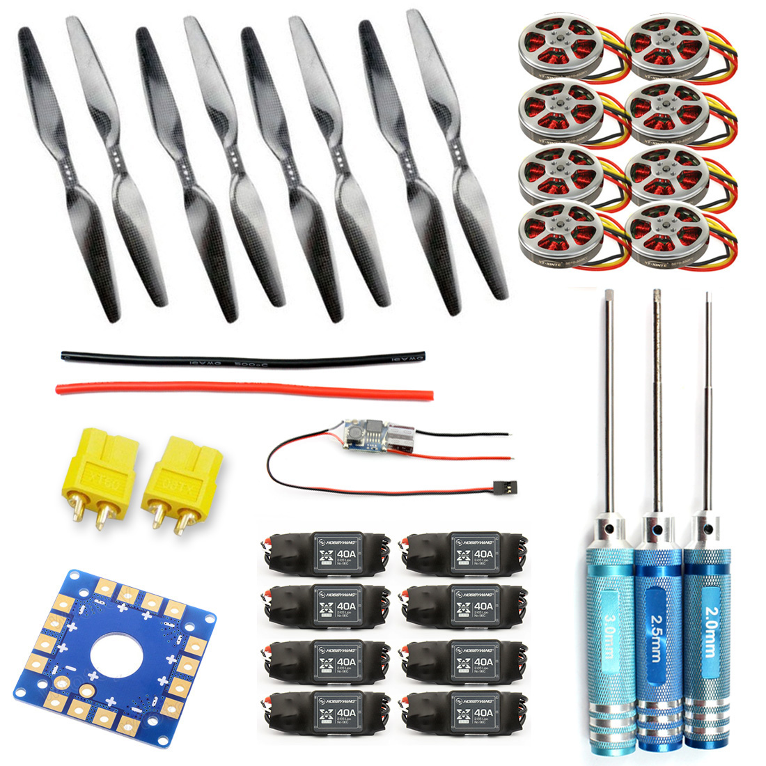 JMT KK Connection Board+350KV Brushless Disk Motor+16x5.5 Propeller+40A ESC Foldable Rack RC Helicopter Kit