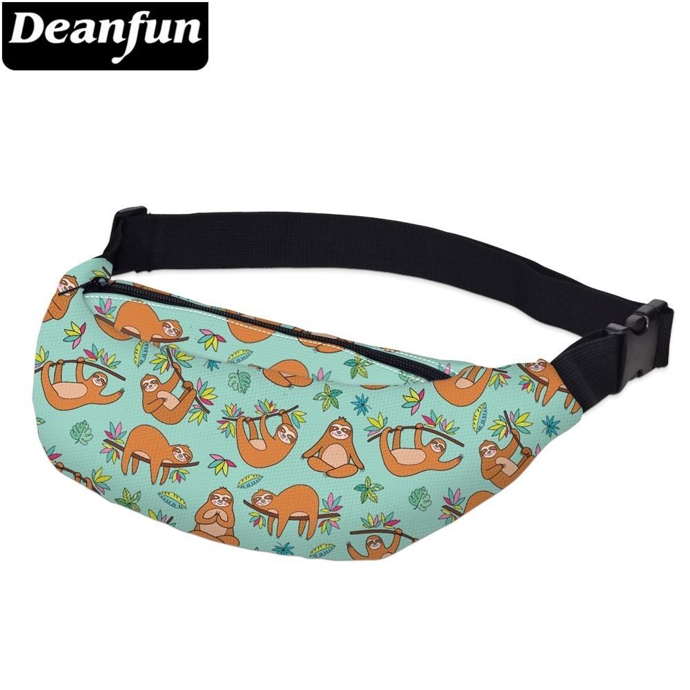 Deanfun Printing Brown Sloth Men Fanny Pack Waterproof Turtle Leaf Waist Pack Man Belly Bag For Travel  YB-43