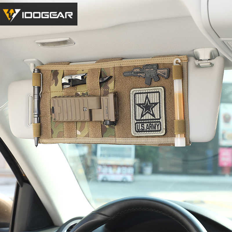 IDOGEAR Tactical MOLLE Pouches Sun Visor Organizer Truck Sun Visor Panel Pouch Auto Multi-pocket CD Bag 3524 multicam camouflage