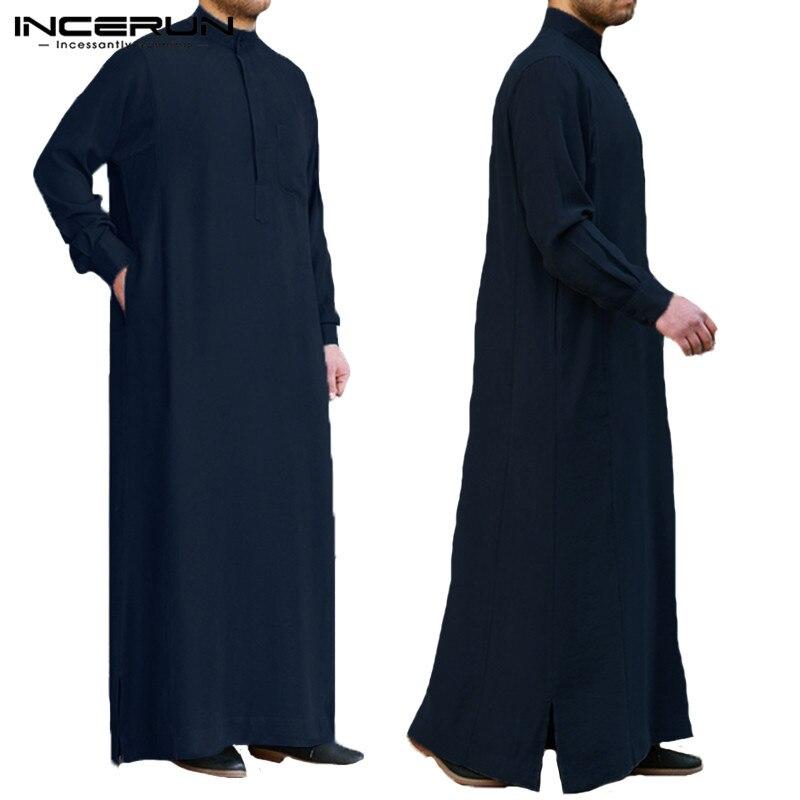 278f21222 2019 ropa musulmana Formal Thobe Jubba hombre bata de manga larga ...