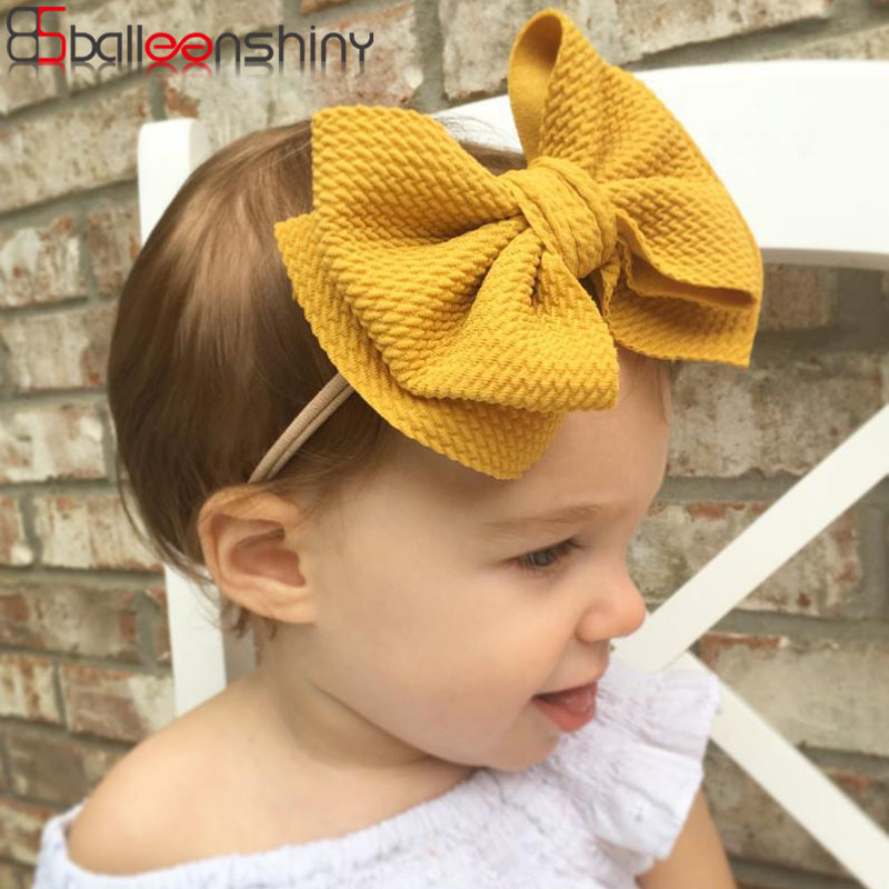 Balleenshiny 2019 New Children's Bowknot Hair Band Baby Headband Headwear Double-layer Bow Elastic Nylon Turban Headdress