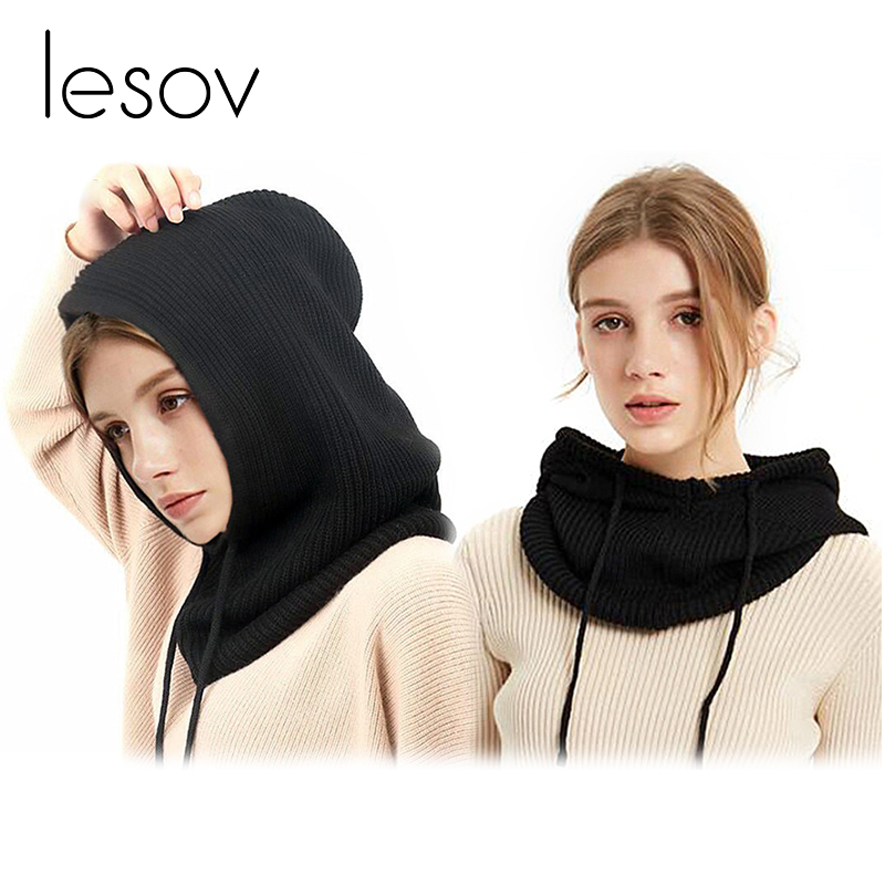 Lesov Unisex Knitted Woolen Hooded Collar   Scarf   Winter Warm Men Women   Scarf   Lace-up Head   Wraps   Neck Warmer Collar   Scarves   New