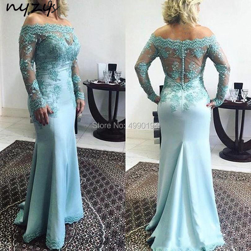 NYZY M33 Long Mother Of Groom Dress Elegant Satin Off Shoulder Lace Long Sleeves Mermaid Dress For Mother Of Bride Wedding Party