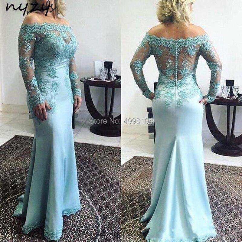 NYZY M33 longue mère de marié robe élégante Satin épaule dénudée dentelle manches longues robe de sirène pour mère de mariée fête de mariage