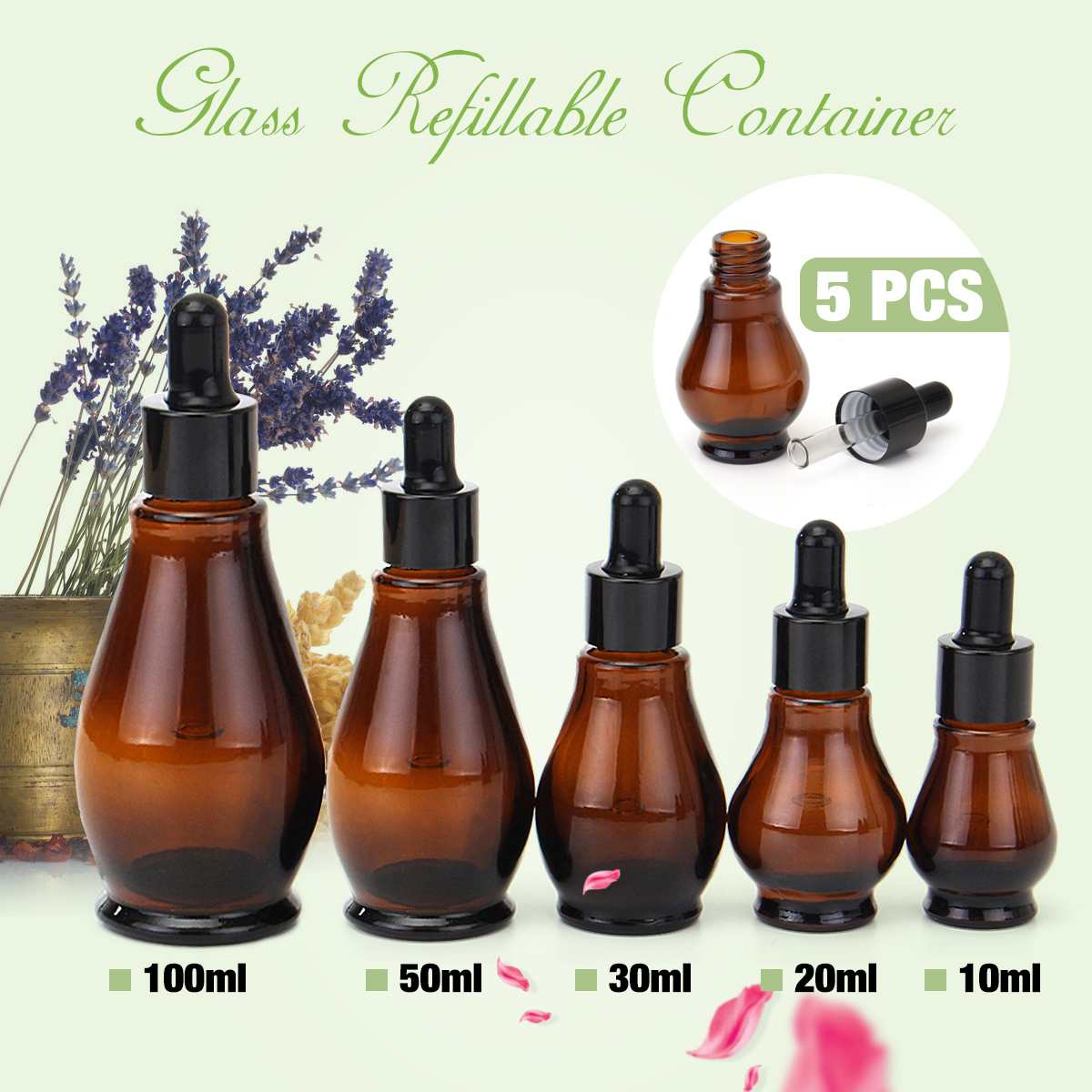5pcs Amber Glass Makeup Dropper Bottle 100ml Essential Oil Perfume Pipette Bottles Refillable Empty Container 10/20/30/50/100ml5pcs Amber Glass Makeup Dropper Bottle 100ml Essential Oil Perfume Pipette Bottles Refillable Empty Container 10/20/30/50/100ml