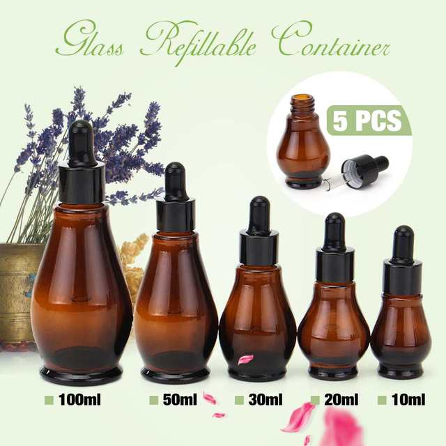 9f54aec17277 US $5.27 12% OFF|5pcs Amber Glass Makeup Dropper Bottle 100ml Essential Oil  Perfume Pipette Bottles Refillable Empty Container 10/20/30/50/100ml-in ...