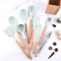 Kitchen Dinnerware Set Silicone Cooking With Wooden Handles For Nonstick Cookware Spatula And Spoon Set