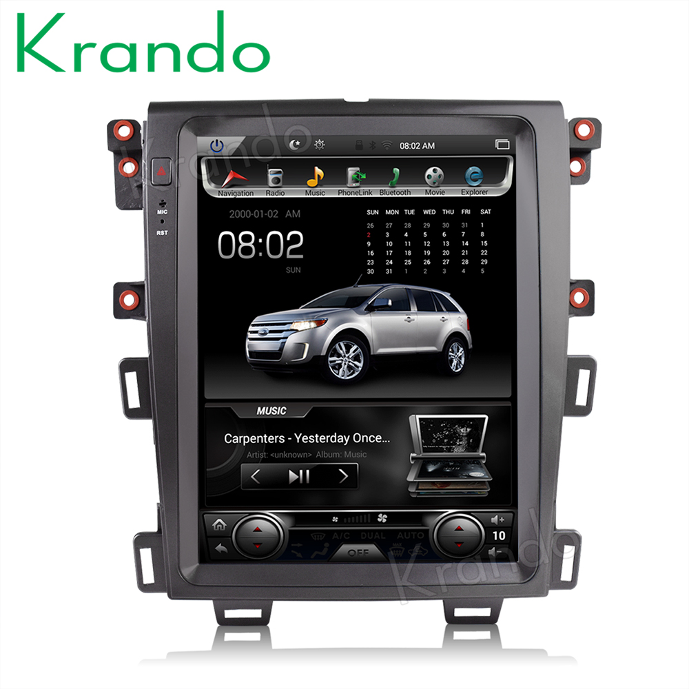"""Krando car radio gps for FORD EDGE 2009 2014 android 8.1 12.1"""" Tesla Vertical screen navigation multimedia system WIFI A/C BT